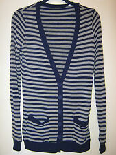 BDG Urban Outfitters navy blue/gray striped long cardigan sweater, size XS