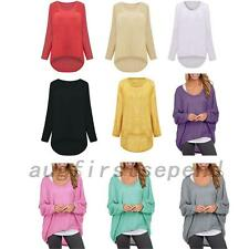 Oversized Batwing Dolman Sleeve Fashion Women's Knit Tops Knitted T-shirt Tee
