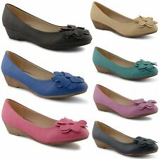New Ladies Low Heel Casual Dolly Ballet Pumps Slip On Ballerina Shoes Size 3-8