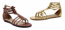 ELLIE 015-ROME Women's Buckle Gladiator Flat Sandal Shoes New In Box