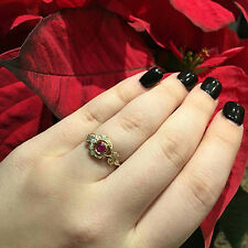 9ct Solid Gold Vintage Insp Ruby, Opal & Diamond Womens Moon Ring R25 Custom