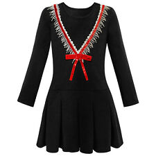 Girls Dress School Uniform Back School Long Sleeve Bow Tie Dress Size 4-10