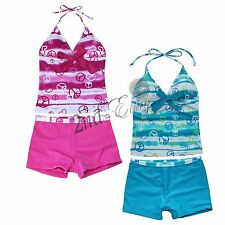 Girls 2 Piece Halter Tankini Bikini Set Swimwear Swimsuit Bathing Suit 7-16 T