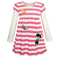Sunny Fashion Girls Dress Cute Butterfly Striped 2-in-1 Top Dress Age 2-8 Years