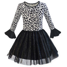 Girls Dress Leopard Sparkling Tulle Skirt Fall Winter Dress Age 5-12 Years