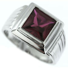 Square Cut Ruby Red Silver Rhodium Plated Ring New