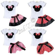 Minnie Mouse Baby Girl Bow T-Shirt Top +Skirt Pants Dress Costume Outfit Clothes