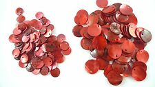 24 RED Dyed Flat Round Shell Charms Pendants Coin Drops 10mm/15mm