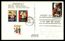 1970 Christmas first day multifranked on postcard 1970