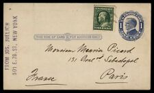 Uprated one cent postal stationery card to Paris France 1910