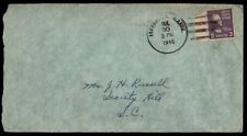 1946 Jefferson maine single franked cover to Society Hill SC