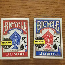2 DECKS BICYCLE STANDARD SIZE JUMBO FACE PLAYING CARDS NEW SEALED RED AND BLUE