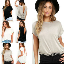 Women Lady Batwing Sleeve Shirt Cotton Blend Loose Casual Backless Tops Blouse