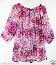 MUSHKA by Sienna Rose Blouse Top Chiffon Hi-Low Hem 3/4 Sleeve Pink NWT $78