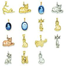 14K Yellow & White Gold Cat Charm Pendant Jewelry