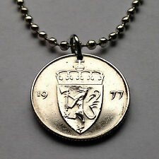 Norway 50 ore coin pendant Norwegian golden LION necklace Norge gold axe n000868