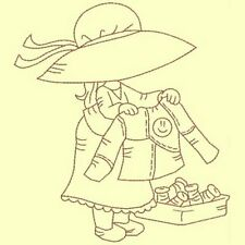 Sewing Sunbonnets Redwork Singles-DESIGN 10-Machine Embroidery Design-in 4 sizes