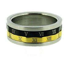 Gold and Black Tone Roman Numerals Stainless Steel Spin Ring 11, 12