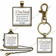 A True Friend Glass Top Key Chain Pendant Charm or Necklace Friendship & Love