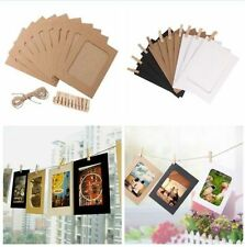 Home Decor 10 Set Paper Photo DIY Wall Picture Hanging Frame Album Rope Clip Set