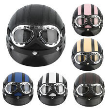 Motorcycle Scooter Open Face Half Synthetic Leather Helmet Visor UV Goggles PYH