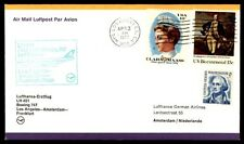 Los Angeles California April 3, 1977 first flight cover to Amsterdam