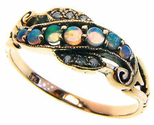 9ct Solid Gold Vintage Insp Opal & Diamond Ring R147 Custom