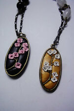 Pendant Pink White Cherry Blossom Polymer, Antique Brass Obsidian and Quartz