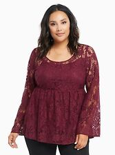 TORRID PLUS SIZE 3 3X 22 24 *SHEER* LACE TOP SHIRT BABYDOLL TUNIC BELL SLEEVES