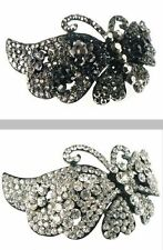 BEAUTIFUL BUTTERFLY BARRETTE CRYSTALS SELECT BLACK or CLEAR SHIPS FROM USA
