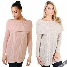 Ladies Off Shoulder Chunky Knitted Tunic Bodycon Sweater Jumper Dress Womens Top
