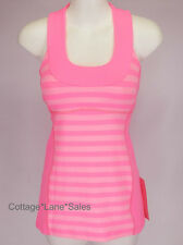 NEW LULULEMON SCOOP NECK TANK Top Sz 2 Apex Stripe Zing Pink NWT FREE SHIP