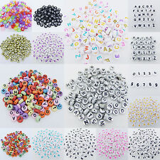 50 pcs 7mm Acrylic Mixed Alphabet Letter Coin Round Flat Loose Spacer Beads Pick