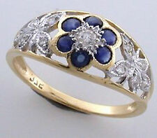 9ct Solid Gold Vintage Insp Sapphire & Diamond Ring R64 Custom