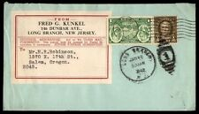 Long Branch Nj Jan 15 1942 Cancel On Cover To Salem Or W/ Ny Worlds Fair Stamp