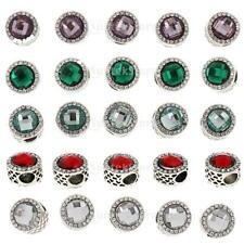 5pcs Two Sided Crystal Circle Beads Charms Fit for European DIY Bracelet Jewelry