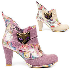 Irregular Choice Miaow Pastel Punk Cute Floral Vintage High Heel Cat Ankle Boots