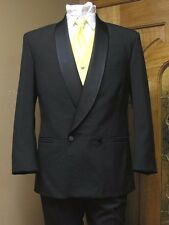 Black double breasted tuxedo jacket wool steampunk wedding formal theatre prom
