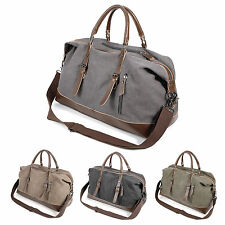 """Canvas Lightweight Luggage 22"""" Large Men's Leather Weekend Bags Overnight Duffle"""