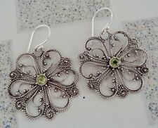 Gemstone Solid Silver, 925 Bali Handcrafted Flower Design Earring 39041