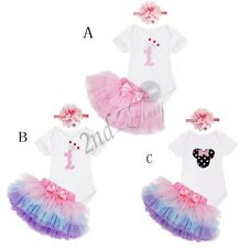 3Pcs Baby Girl 1st Birthday Skirt Dress Clothes Minnie Romper Headband Outfit
