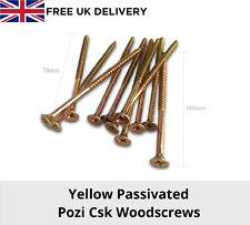 Yellow Passivated Pozi Csk Wood Screws 4mm 5mm Various Packs