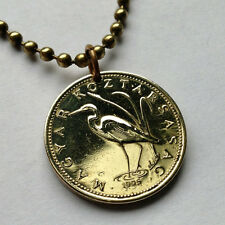 Hungary 5 Forint coin pendant Hungarian necklace Crane bird Budapest n000396