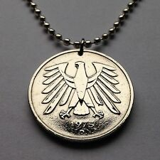 Germany 5 Deutsche Mark coin pendant German EAGLE necklace Deutschland n001587