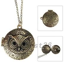 Bronze  Retro Gothic Punk Style Owl Animal Locket Necklace Pendant Jewelry Gift