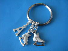 Ice Skating Keyring White Ice Skate Boots Figure Skating Boots Initial Charm
