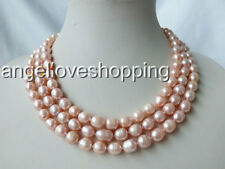 3 strands rice genuine cultured natural rice freshwater pearl necklace 8-9mm