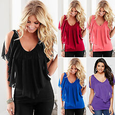 Womens Summer Chiffon Blouse Fashion Off Shoulder Top V-neck Casual T-Shirts Tee
