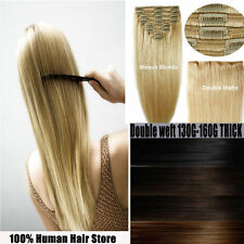 Premium 160g180g200g Clip In Remy Human Hair Extensions Double Wefted THICK UKJY