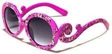 Girls Fashion Flower Swirl Round Sunglasses Choose Color UV 400 Protection